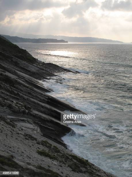 Sunset at the cliffs and the Socoa near coast Ciboure Pyrenes Atlantiques France