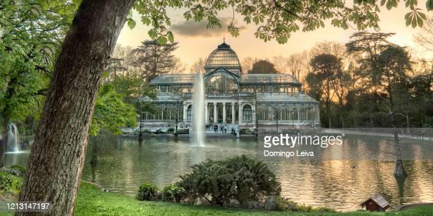 sunset at the crystal palace, buen retiro park. madrid spain - reflexo efeito de luz imagens e fotografias de stock