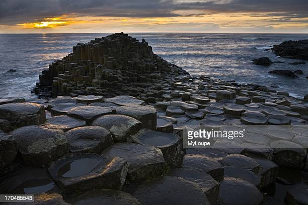 Sunset at the Giant's Causeway, County Antrim, Northern Ireland, United Kingdom.