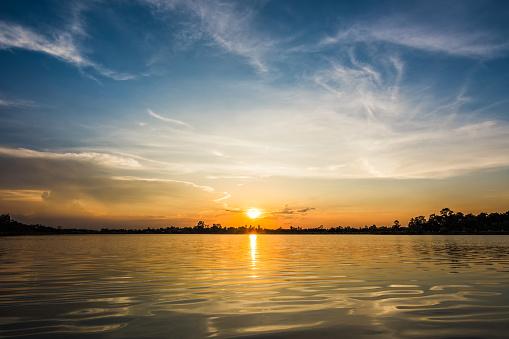 Sunset at the lake landscape 974858548