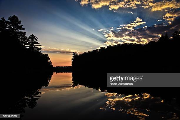 sunset at the lake - sudbury canada stock photos and pictures