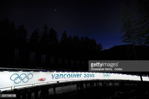 Sunset at the men's skeleton event at the Whistler sliding centre on day 7 of the Vancouver 2010 Olympic Winter Games.