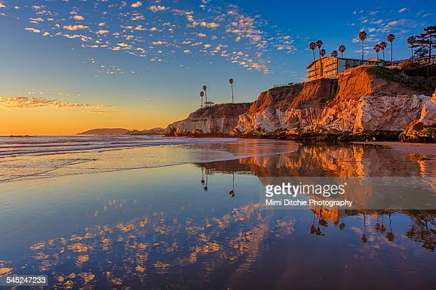 sunset at the north end of pismo beach - pacific ocean stock photos and pictures