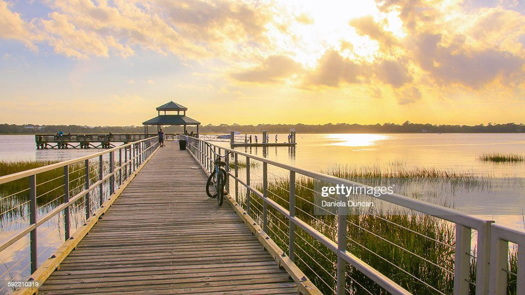 Sunset at the pier : Stock Photo
