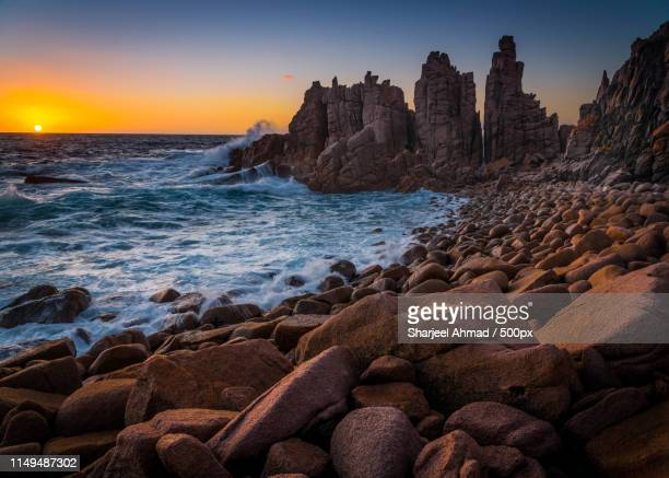 sunset at the pinnacles - phillip island stock pictures, royalty-free photos & images