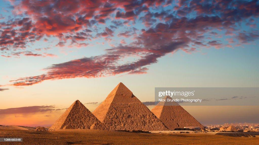 Sunset at the Pyramids, Giza, Cairo, Egypt : Stock Photo