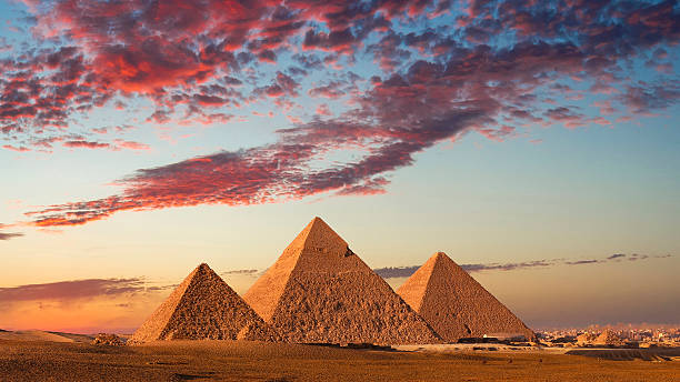 Sunset At The Pyramids, Giza, Cairo, Egypt Wall Art