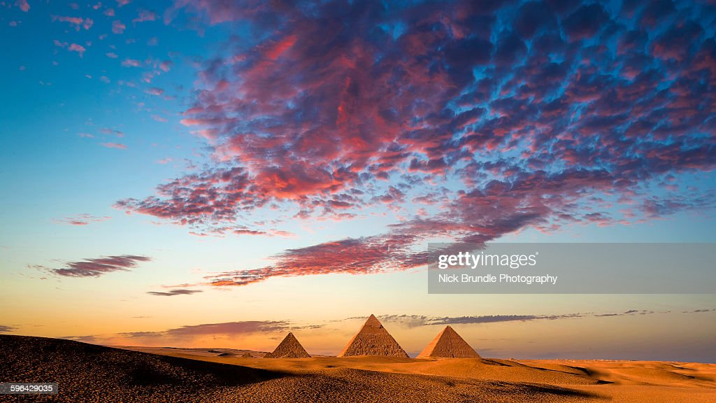 Sunset at the Pyramids, Giza, Cairo, Egypt : Stock Photo