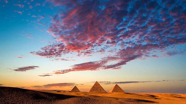 Sunset at the Pyramids, Giza, Cairo, Egypt