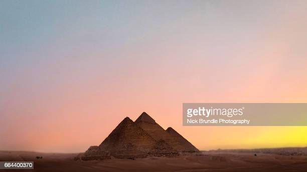 Sunset at the Pyramids, Giza, Egypt.