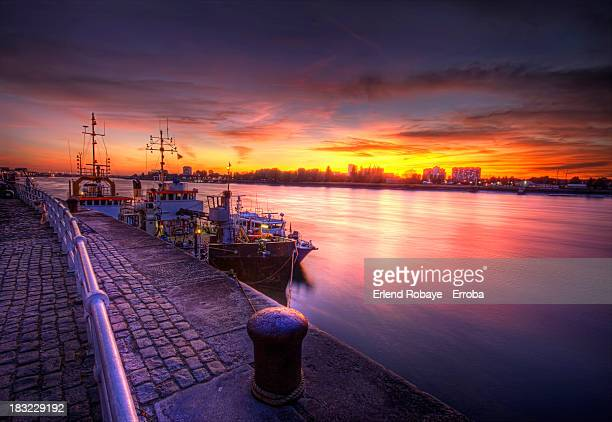 sunset at the quay, antwerp - antwerpen provincie stockfoto's en -beelden