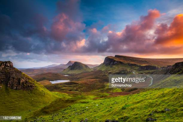 sunset at the quiraing on the isle of skye in scotland - western isles stock pictures, royalty-free photos & images