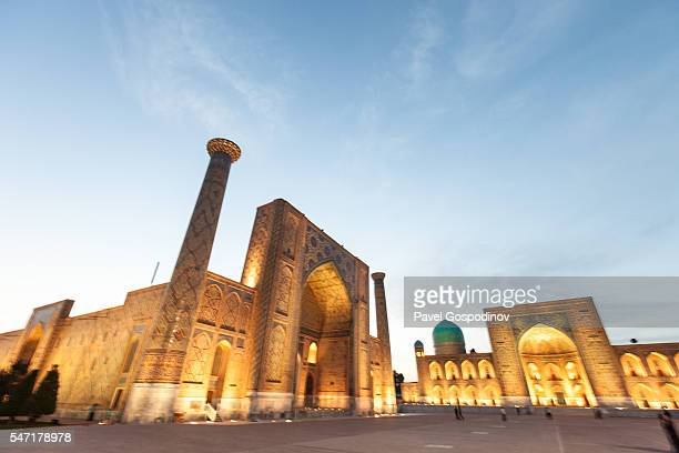 sunset at the registan -  a public square in the heart of the ancient city of samarkand in uzbekistan - uzbekistan stock pictures, royalty-free photos & images