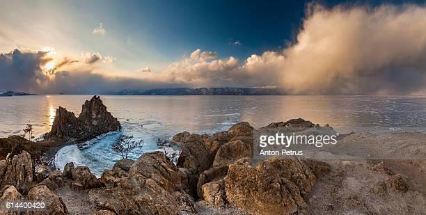 Sunset at the Rock Shamanka. Lake Baikal