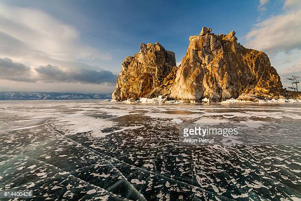 Sunset at the Rock Shamanka. Lake Baikal
