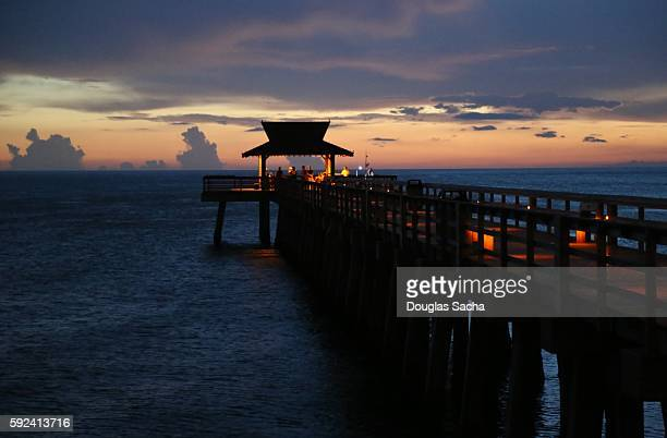 Sunset at the scenic pier, Naples City Pier, Naples, Florida, USA