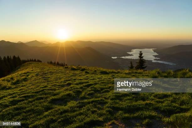 sunset at the setzberg above lake tegernsee, rottach-egern, upper bavaria, bavaria, germany - tegernsee stock pictures, royalty-free photos & images