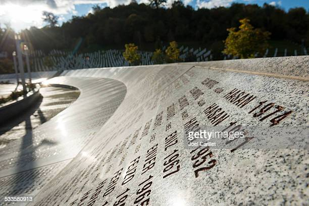 sunset at the srebrenica genocide memorial in bosnia - bosnia and hercegovina stock pictures, royalty-free photos & images