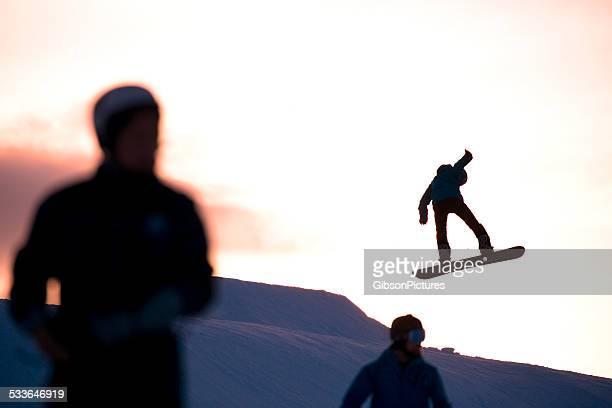 sunset at the terrain park - stunt stockfoto's en -beelden