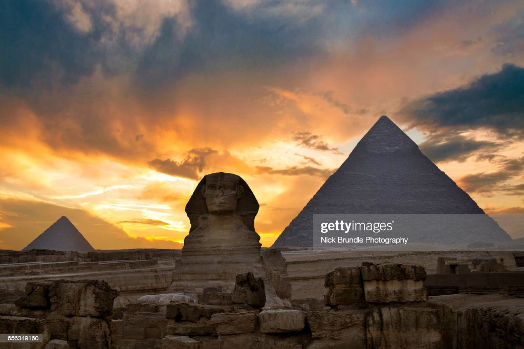 Sunset at the the Pyramid complex at Giza, Egypt. : Stock Photo