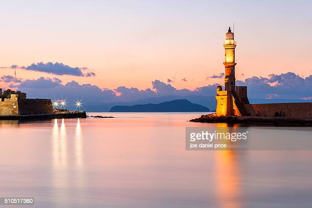 Sunset at the Venetian Lighthouse at Chania, Crete, Greece