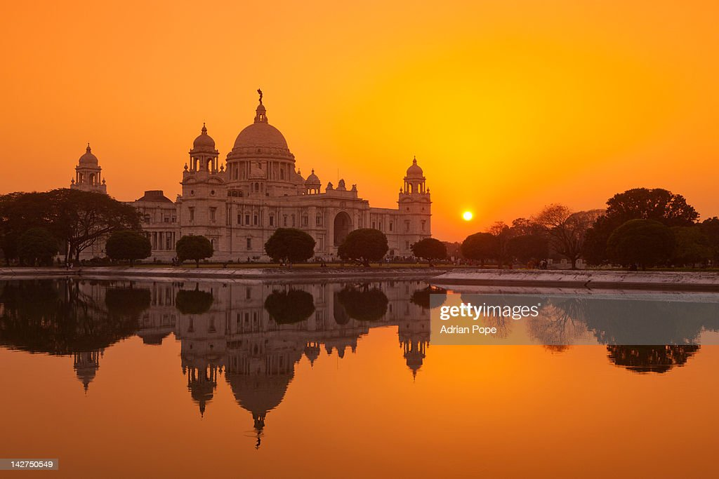 Sunset at the Victoria Memorial, Calcutta : Stock Photo