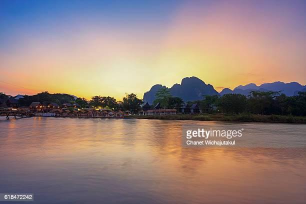 Sunset at the village of Vang Vieng Laos.