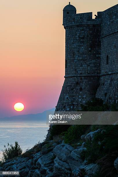 Sunset at the Walls of Old Town Dubrovnik, Croatia, Europe