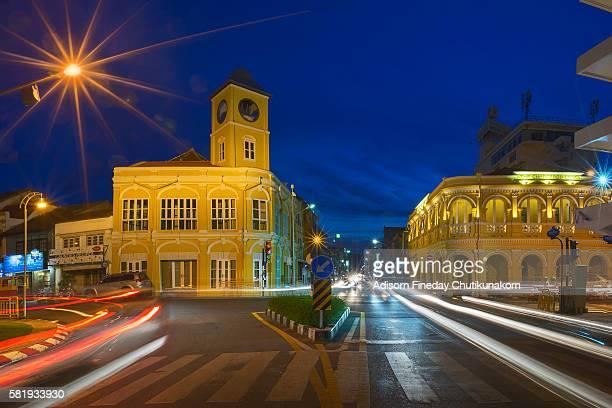 Sunset at Town Clock, Phuket Old Town.