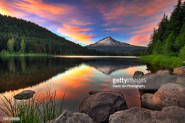 sunset at trillium lake with mount hood   - mt hood stock pictures, royalty-free photos & images