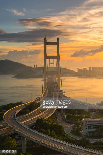 Sunset at Tsingma bridge , Hong Kong