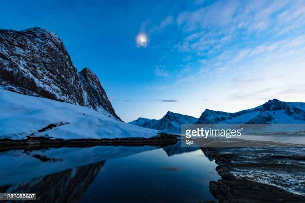 "sunset at tungeneset on senja island in northern norway during winter - ""sjoerd van der wal"" or ""sjo"" stock pictures, royalty-free photos & images"