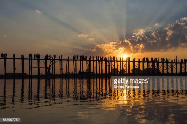 Sunset at U Bein Bridge, Amarapura, Mandalay, Myanmar