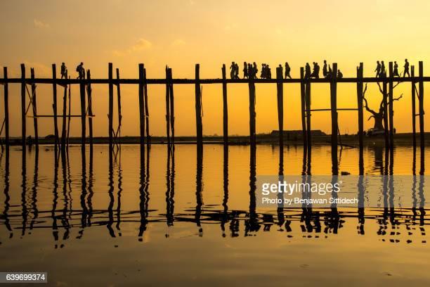 Sunset at U Bein Bridge, Amarapura, Mandalay Region, Myanmar