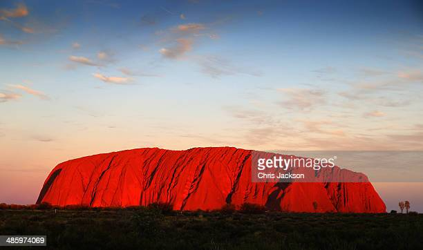 Sunset at Uluru ahead of a visit by Prince William Duke of Cambridge and Catherine Duchess of Cambridge on April 21 2014 in Ayers Rock Australia The...