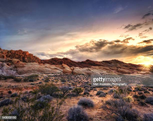 sunset at valley of fire state park, nevada, usa - valley of fire state park stock photos and pictures