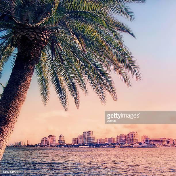 Sunset at West Palm Beach skyline