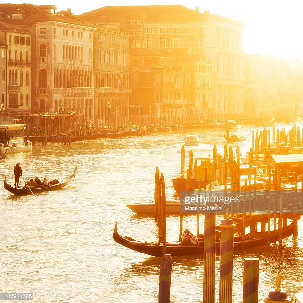 Sunset bathes Venice's Grand Canal in golden light