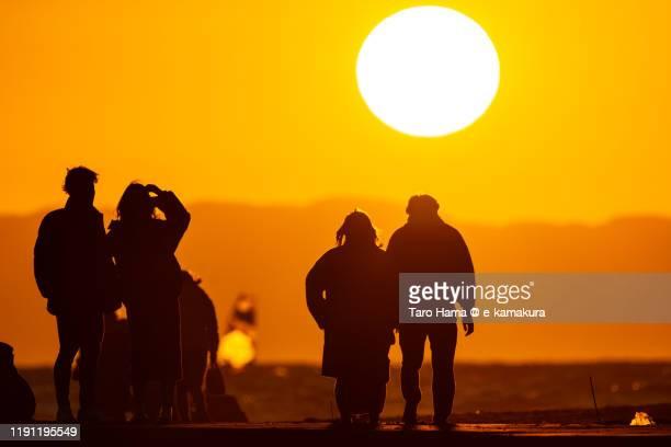 sunset beach in kamakura city in kanagawa prefecture of japan - kanagawa prefecture stock pictures, royalty-free photos & images