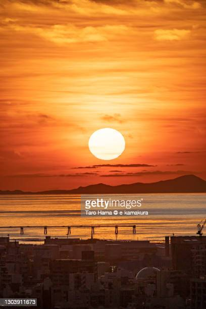 sunset beach in naha city of japan - image title stock pictures, royalty-free photos & images