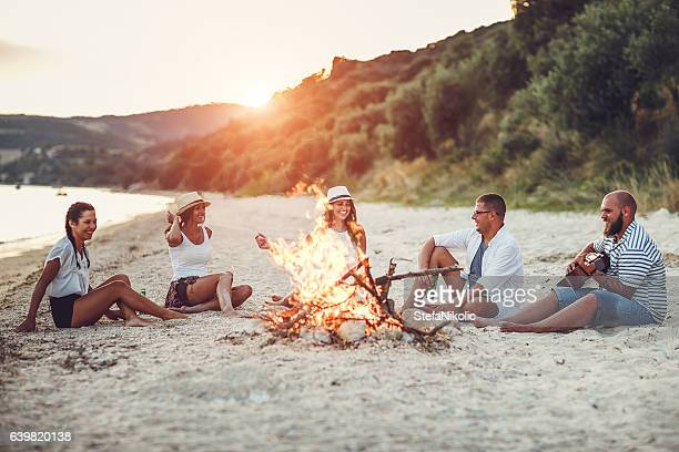 Sunset Beach party with a group of friends