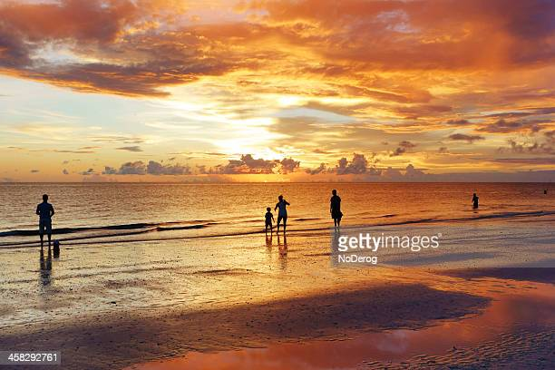sunset beach scene - marco island stock pictures, royalty-free photos & images