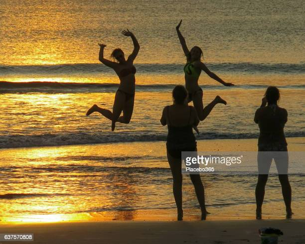 Sunset Beach Selfie Photograph Silhouette Jumping Fun