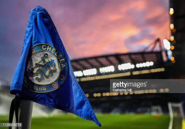 A sunset behind the corner flag inside the stadium ahead the FA Cup Fourth Round match between Chelsea and Sheffield Wednesday at Stamford Bridge on...