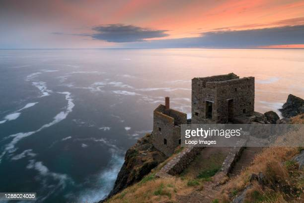 Sunset behind the Crowns Engine Houses at Botallack.