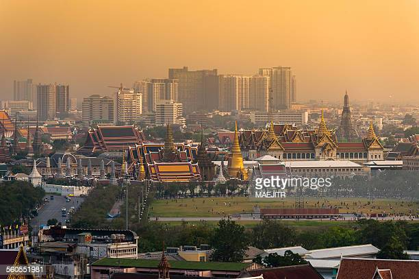 Sunset bird eye view grand palace bangkok