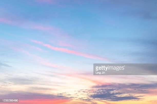 sunset blue sky with pink cloud - sunset ストックフォトと画像