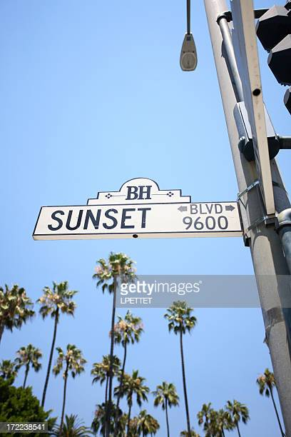 Sunset Blvd Road Sign With Palm Trees In The Background