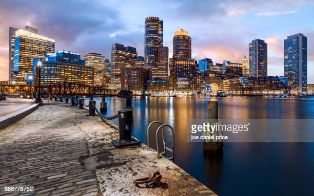 Sunset, Boston, Skyline, Massachusetts, America