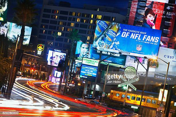 sunset boulevard at dusk. - hollywood california stock pictures, royalty-free photos & images